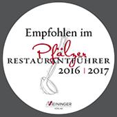 empfohlen im Pfälzer Restaurantführer 2016/2017